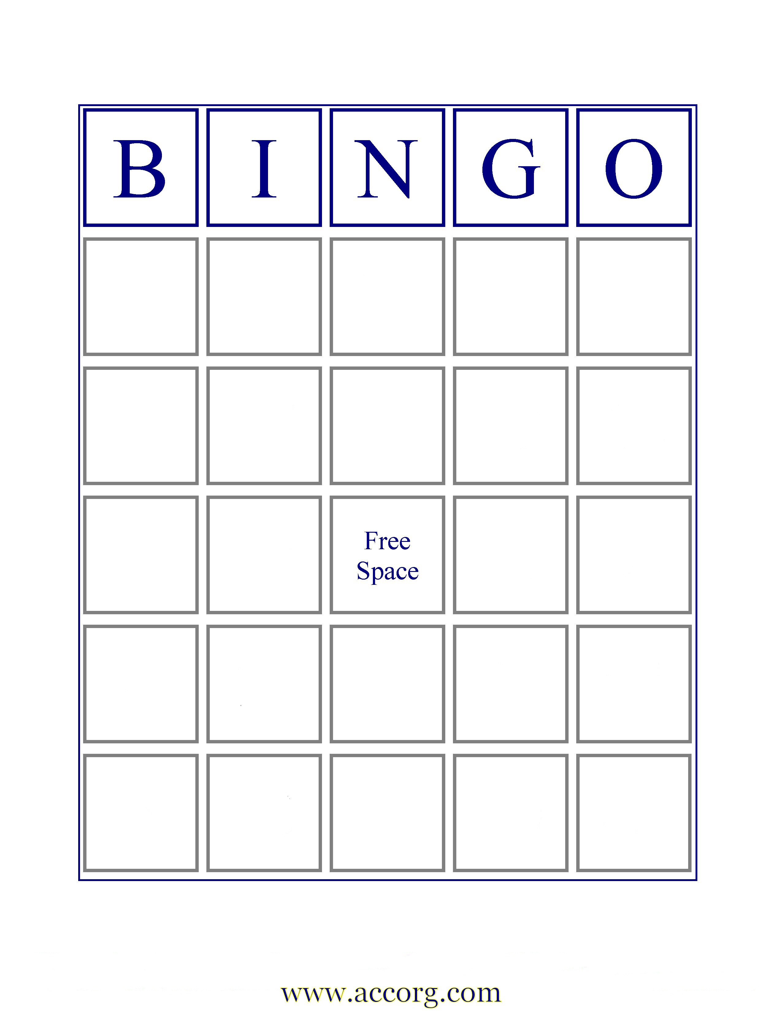 if you want an image of a standard bingo card with b i n g o across